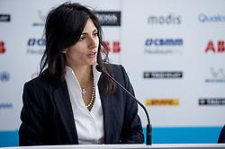 April 13, 2018 - Rome, Italy - The mayor of Rome Virginia Raggi attending the press conference during the FIA Formula E Championship Day One Rome E-Prix 2018 at Circuto Cittadino dellEUR, Rome, Italy on 13 April 2018. (Credit Image: © Giuseppe Maffia/NurPhoto via ZUMA Press)