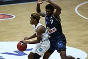 Basketball: Deutschland, 1. Bundesliga, Hamburg Towers - HAKRO Merlins Crailsheim, Hamburg, 10.01.2021<br /> TJ Shorts (Towers, l.) - Tim Coleman (Merlins)<br /> © Torsten Helmke