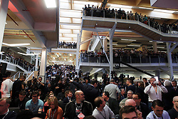 General view of the crowd ahead of the arrival of Anthony Joshua and Wladimir Klitschko during a press conference at Sky Sports Studios, Isleworth.