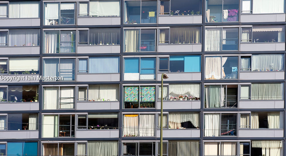 Many windows in modern apartment building  in The Hague, The Netherlands