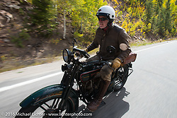 Dean Bordigioni (Dino) riding his 1923 Harley-Davidson JS during Stage 10 (278 miles) of the Motorcycle Cannonball Cross-Country Endurance Run, which on this day ran from Golden to Grand Junction, CO., USA. Monday, September 15, 2014.  Photography ©2014 Michael Lichter.