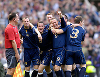 Photo: Jed Wee/Sportsbeat Images.<br /> Scotland v Ukraine. UEFA European Championships Qualifying. 13/10/2007.<br /> <br /> Scotland celebrate with goalscorer Kenny Miller (9).