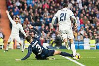 "Real Madrid's Jonathan ""Jony"" Rodriguez and Malaga CF's Weligton Robson during La Liga match between Real Madrid and Malaga CF at Santiago Bernabeu Stadium in Madrid, Spain. January 21, 2017. (ALTERPHOTOS/BorjaB.Hojas)"
