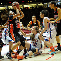 031314  Adron Gardner/Independent<br /> <br /> Gallup Bengal Cheyenne Livingston (32) releases a shot  during the state high school basketball tournament against the Los Lunas Tigers at The Pit in Albuquerque Thursday.