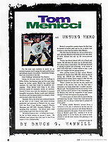 1999 RHI Anaheim Bullfrogs program.  Article by Bruce Hammill on player Tom Menicci the Unsung Hero