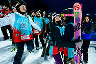 Emma Dahlstrom and Maggie Voisin congratulate Mathilde Gremaud during Women's Ski Big Air Finals at 2017 X Games Norway at Hafjell Alpinsenter in Øyer, Norway. ©Brett Wilhelm/ESPN
