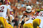 AUSTIN, TX - OCTOBER 18:  Dalton Santos #55 of the Texas Longhorns lines up against the Iowa State Cyclones on October 18, 2014 at Darrell K Royal-Texas Memorial Stadium in Austin, Texas.  (Photo by Cooper Neill/Getty Images) *** Local Caption *** Dalton Santos