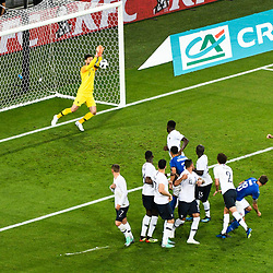 Hugo Lloris of France and Mario Balotelli of Italy shoot the free kick during the International Friendly match between France and Italy at Allianz Riviera Stadium on June 1, 2018 in Nice, France. (Photo by Pascal Della Zuana/Icon Sport)
