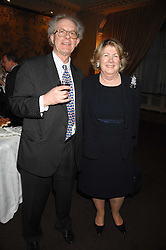 BARONESS GOUDIE and her husband JAMES GOUDIE at a party to celebrate the publication of Dell'Olio's book 'My Beautiful Game' held at the Italian Embassy, Grosvenor Square, London on 17th April 2008.<br />