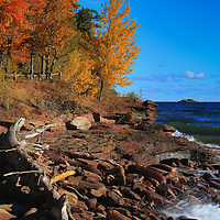 """""""Autumn Viewing"""" <br /> <br /> A scenic autumn viewing place at Presque Isle Park in Marquette Michigan!"""