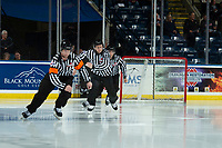 KELOWNA, CANADA - DECEMBER 5:  Referee Nick Swaiine enters the ice at the Kelowna Rockets against the Tri-City Americans on December 5, 2018 at Prospera Place in Kelowna, British Columbia, Canada.  (Photo by Marissa Baecker/Shoot the Breeze)