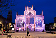 7 April 2018: Hull, East Yorks, UK. Hull city centre is lit up tonight with the switch on of a new permanent installation - The Golden Hour - that shines different colour lights on some of the city's architecture.  The work is by Nayan Kulkarni, the artist behind the Siemens Blade installation last year.<br /> Hull is the current UK City of Culture, handing over the title to Coventry in 2021.<br /> Buildings illuminated include the Maritime Musem, Hull City Hall and Hull Minster (pictured) as well as some of Hull's most iconic statues.<br /> The Golden Hour is part of Hull City Council's committment to continuing its investment into culture and the arts with a £250million plan to deliver further improvements to the city's cultural and visitor infrastructure and a pledge to provide on-going support to the city's independent arts sector.<br />  Picture: Sean Spencer/Hull News & Pictures Ltd<br /> 01482 210267/07976 433960<br /> www.hullnews.co.uk         sean@hullnews.co.uk