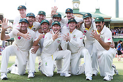 © Licensed to London News Pictures. 05/01/2014. The Victorious Australian Ashes team celebrate their victory with the Ashes trophy during day 3 of the 5th Ashes Test Match between Australia Vs England at the SCG on 5 January, 2013 in Melbourne, Australia. Photo credit : Asanka Brendon Ratnayake/LNP