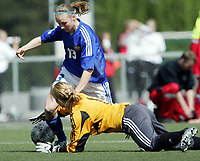 Fotball<br /> Four Nations Tournament Female U17<br /> 3rd place match<br /> Finland v Denmark 2-0 / Finland v Danmark 2-0<br /> 14.05.2006<br /> Foto: Morten Olsen, Digitalsport<br /> <br /> Satu Kruus - Honka / FIN<br /> Mie Juhl Koch - DEN