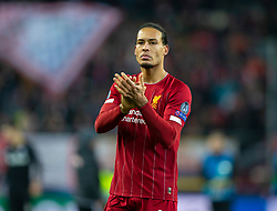 SALZBURG, AUSTRIA - Tuesday, December 10, 2019: Liverpool's Virgil van Dijk applauds the supporters after the final UEFA Champions League Group E match between FC Salzburg and Liverpool FC at the Red Bull Arena. Liverpool won 2-0. (Pic by David Rawcliffe/Propaganda)