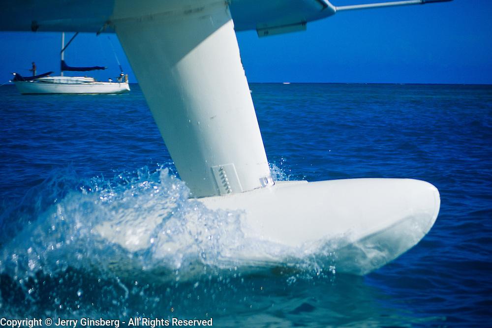 Seaplane splashes down at Garden Key in Dry Tortugas National Park, FL.