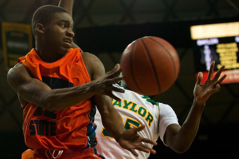 WACO, TX - JANUARY 3: Terel Hall #22 of the Savannah State Tigers drives to the basket against the Baylor Bears on January 3, 2014 at the Ferrell Center in Waco, Texas.  (Photo by Cooper Neill) *** Local Caption *** Terel Hall