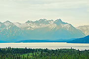 Coast Mountains with glaciers and Bennett Lake<br />