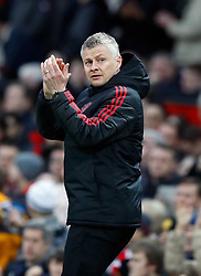 Manchester United interim manager Ole Gunnar Solskjaer applauds on the touchline during the Premier League match at Old Trafford, Manchester.