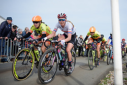 Hannah Barnes and Chloe Hosking reach the top of Vamberg at Ronde van Drenthe 2017. A 152 km road race on March 11th 2017, starting and finishing in Hoogeveen, Netherlands. (Photo by Sean Robinson/Velofocus)