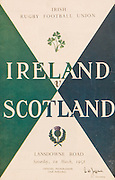 Irish Rugby Football Union, Ireland v Scotland, Five Nations, Landsdowne Road, Dublin, Ireland, Saturday 1th March, 1958,.1.3.1958, 3.1.1958,..Referee- W N Gillmore, Rugby Football Union, ..Score- Ireland 12 - 6 Scotland, ..Irish Team, ..P J Berkery, Wearing number 15 Irish jersey, Full back, Landsdowne Rugby Football Club, Dublin, Ireland, and, London Irish Rugby Football Club, Surrey, England, ..A J O'Reilly, Wearing number 14 Irish jersey, Right Wing, Old Belvedere Rugby Football Club, Dublin, Ireland,  ..N J Henderson, Wearing number 13 Irish jersey, Right centre, N.I.F.C, Rugby Football Club, Belfast, Northern Ireland, ..D Hewitt, Wearing number 12 Irish jersey, Left centre, Queens University Rugby Football Club, Belfast, Northern Ireland,..A C Pedlow, Wearing number 11 Irish jersey, Left wing,  C I Y M S Rugby Football Club, Belfast, Northern Ireland, ..J W Kyle, Wearing number 10 Irish jersey, Stand Off, N.I.F.C, Rugby Football Club, Belfast, Northern Ireland, ..A A Mulligan, Wearing number 9 Irish jersey, Scrum Half, Cambridge University Rugby Football Club, Cambridge, England, and, Wanderers Rugby Football Club, Dublin, Ireland, ..P J O'Donoghue, Wearing  Number 1 Irish jersey, Forward, Bective Rangers Rugby Football Club, Dublin, Ireland,  ..A R Dawson, Wearing number 2 Irish jersey, Forward, Wanderers Rugby Football Club, Dublin, Ireland, ..B G M Wood, Wearing number 3 Irish jersey, Forward, Garryowen Rugby Football Club, Limerick, Ireland, ..J B Stevenson, Wearing number 4 Irish jersey, Forward, Instonians Rugby Football Club, Belfast, Northern Ireland,..W A Mulcahy, Wearing number 5 Irish jersey, Forward, University College Dublin Rugby Football Club, Dublin, Ireland, ..J A Donaldson, Wearing number 6 Irish jersey, Forward, Collegians Rugby Football Club, Belfast, Northern Ireland, ..J R Kavanagh, Wearing number 7 Irish jersey, Forward, Wanderers Rugby Football Club, Dublin, Ireland, ..N A Murphy, Wearing number 8 Irish jersey, Forward, Cork Constitutio