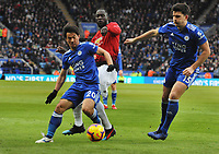 Football - 2018 / 2019 Premier League - Leicester City vs. Manchester United<br /> <br /> Romelu Lukaku of United with Shinji Okazaki and Harry Maguire of Leicester at The King Power Stadium.<br /> <br /> COLORSPORT/ANDREW COWIE