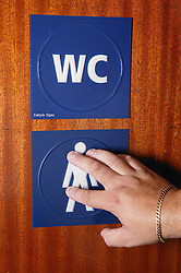 Access to services WC sign,