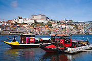 Rabelo boats - port wine barges - a tourist attraction at V|la Nova de Gaia in Porto, Portugal