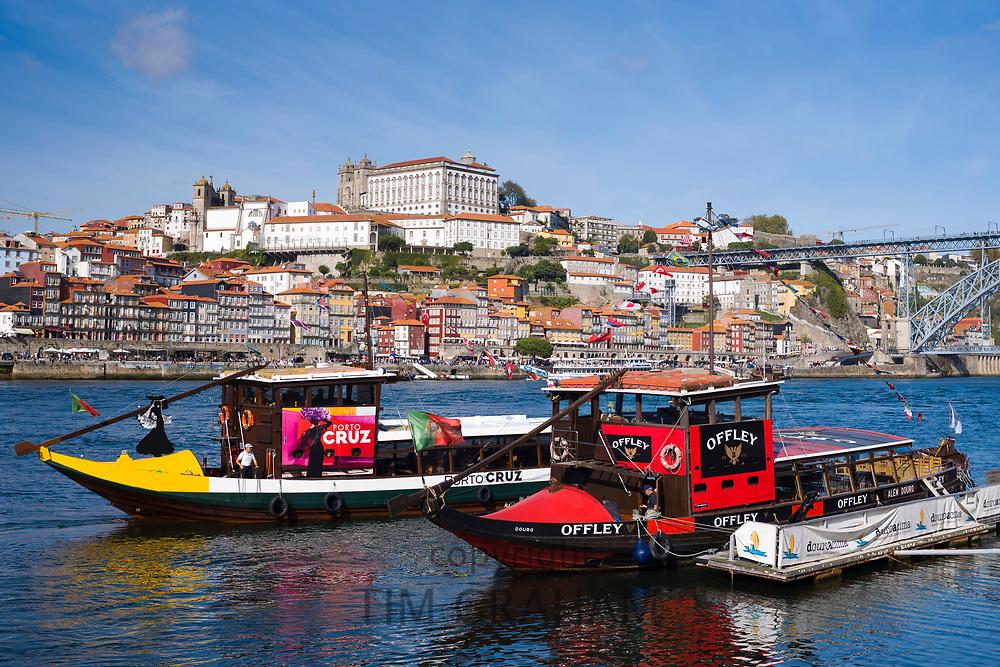 Rabelo boats - port wine barges - a tourist attraction at V|la Nova de Gaia in Porto, Portugal