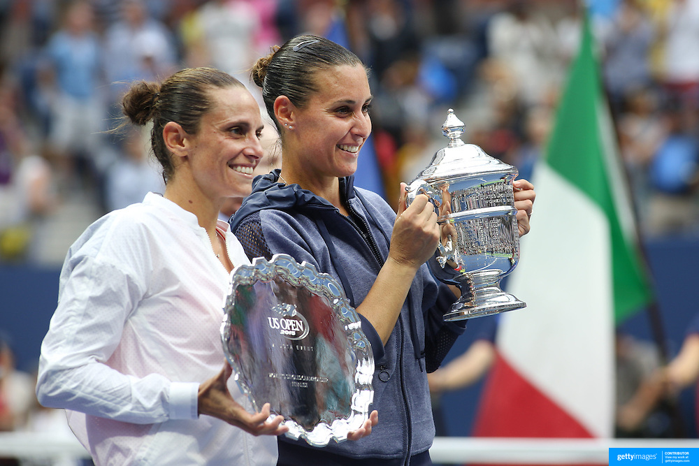 Flavia Pennetta, (right), Italy and Roberta Vinci, celebrate with their trophies with after her victory against Roberta Vinci Italy, in the Women's Singles Final match during the US Open Tennis Tournament, Flushing, New York, USA. 12th September 2015. Photo Tim Clayton