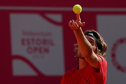 May 3, 2018 - Estoril, Portugal - Stefanos Tsitsipas of Greece serves a ball to Kevin Anderson of South Africa during the Millennium Estoril Open ATP 250 tennis tournament, at the Clube de Tenis do Estoril in Estoril, Portugal on May 3, 2018. (Credit Image: © Pedro Fiuza/NurPhoto via ZUMA Press)