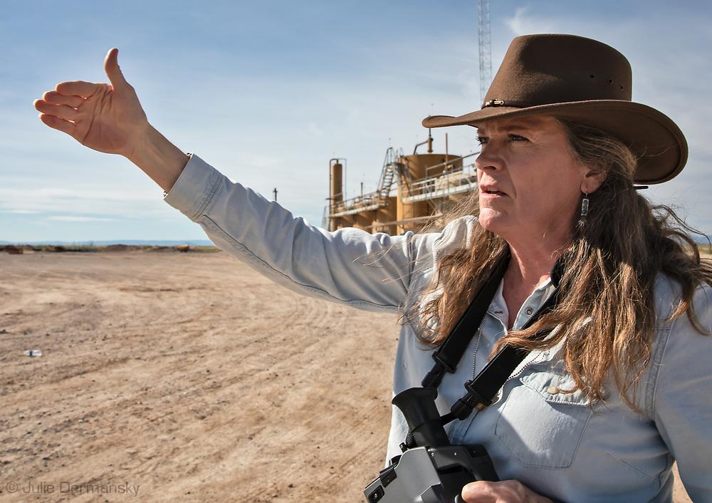 Sharon Wilson, Texas coordinator of Earthworks,  in the Permian Basin.