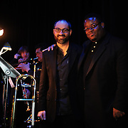 Members of the trombone section of the Temptations band at The Music Hall in Portsmouth, NH