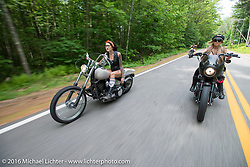 Kissa Von Addams and Leticia Cline of the Iron Lilies during Laconia Motorcycle Week 2016. NH, USA. Sunday, June 19, 2016.  Photography ©2016 Michael Lichter.