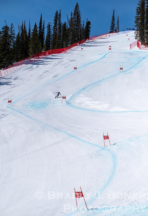 Rob Watsabaugh weaves through the upper section of the Jackson Hole Downhill while competing in the Individual Pro class Sunday at Jackson Hole Mountain Resort.