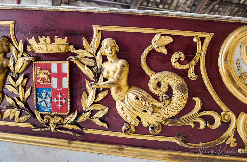 Detail of a royal vessel built in 1850 on display at the Ship Pavilion of the Museo Storico Navale di Venezia in Venice, Italy