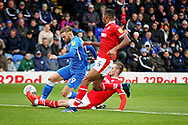 Peterborough United forward Matt Godden (9) nearly gets through during  the EFL Sky Bet League 1 match between Peterborough United and Barnsley at The Abax Stadium, Peterborough, England on 6 October 2018.