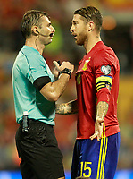 Spain's Sergio Ramos have words with the Russian referee Aleksei Igorevich during FIFA World Cup 2018 Qualifying Round match. October 6,2017.(ALTERPHOTOS/Acero)