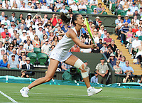 Tennis - 2019 Wimbledon Championships - Week One, Tuesday (Day Two)<br /> <br /> Women's Singles, 1st Round: Serena Williams (USA) v Giulia Gatto - Monticone (ITA)<br /> <br /> Giulia Gatto - Monticone  on Centre Court <br /> <br /> COLORSPORT/ANDREW COWIE