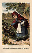 Little Red Riding Hood [a European fairy tale about a young girl and a Big Bad Wolf. Its origins can be traced back to the 17th century to several European folk tales, including one from Italy called The False Grandmother. The two best known versions were written by Charles Perrault and the Brothers Grimm]. From the book ' A apple pie and other nursery tales : forty-eight pages of illustrations : printed in colours by Kronheim & Co ' Published by  : George Routledge and Sons 1870