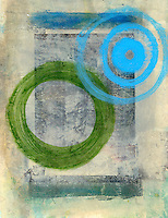 Blue Circles merging into a larger green circle.