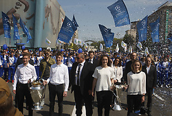 April 21, 2018 - Kiev, Ukraine - Young soccer players carry the Champions league trophies at the hand over ceremony in Kiev, Ukraine, 21 April, 2018. The Champions League Final is to take place on May 26 at the Olympiyski stadium in Kiev. (Credit Image: © Str/NurPhoto via ZUMA Press)