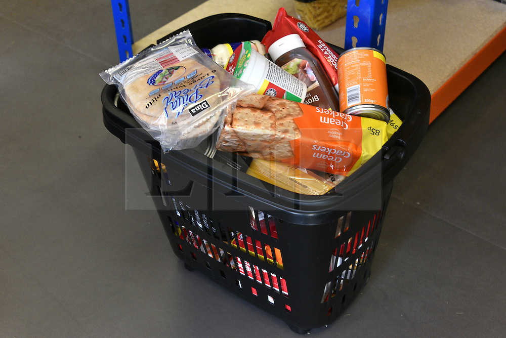 © Licensed to London News Pictures. 02/02/2016. London, UK. A basket of groceries at the new easyFoodstore budget Supermarket in Park Royal, north London which is selling a range of food products all at 25p each. The discount shop, which is owned by the EasyJet company, offers shoppers groceries ranging from pasta to beans to cleaning products. Fresh meat, fruit and vegetables are not yet available. Photo credit: Ray Tang/LNP