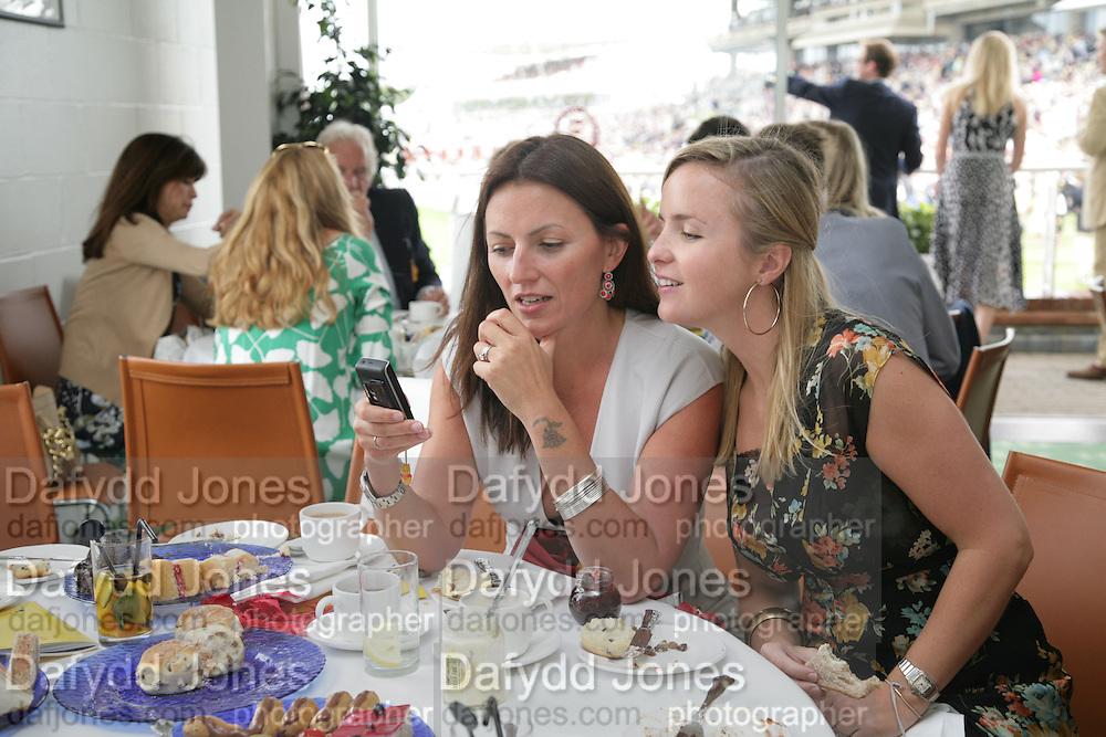 Davina McCall and Alix Burdett, Glorious Goodwood. 2 August 2007.  -DO NOT ARCHIVE-© Copyright Photograph by Dafydd Jones. 248 Clapham Rd. London SW9 0PZ. Tel 0207 820 0771. www.dafjones.com.