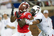 DALLAS, TX - AUGUST 30: Jeremy Johnson #15 of the SMU Mustangs makes a catch against the Texas Tech Red Raiders on August 30, 2013 at Gerald J. Ford Stadium in Dallas, Texas.  (Photo by Cooper Neill/Getty Images) *** Local Caption *** Jeremy Johnson