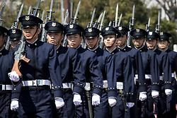 April 5, 2017 - Yokosuka, Kanagawa Prefecture, Japan - Japanese cadets march during the entrance ceremony of new students at National Defense Academy in Yokosuka, south of Tokyo, Japan, April 5, 2017. This year, 468 new cadets enter the academy. (Credit Image: © Richard Atrero De Guzman/NurPhoto via ZUMA Press)