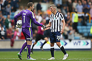 Goalkeeper Colin Doyle of Bradford City (l)  shakes hands with Steve Morison of Millwall after full time. EFL Skybet football league one match, Millwall v Bradford city at The Den in London on Saturday 3rd September 2016.<br /> pic by John Patrick Fletcher, Andrew Orchard sports photography.