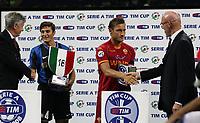 24-08-2008 Milano Italy sport calcio Inter-Roma Supercoppa Italiana 2008 nella foto : zanetti totti premiazione scudetto coppa italia
