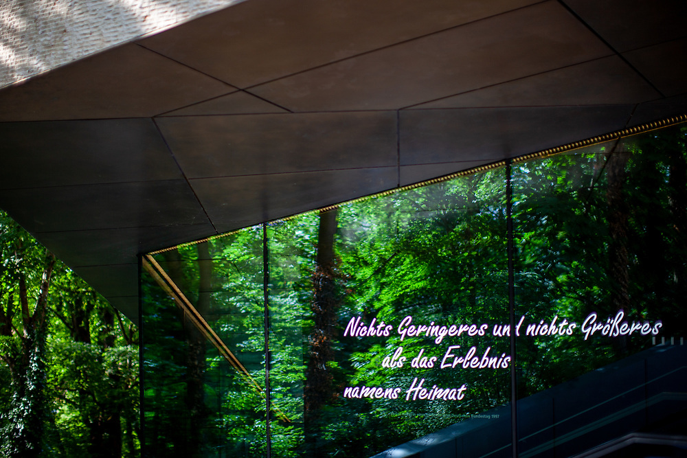 """The Sudeten German Museum in Munich. The exhibition is preceded by a quote from Václav Havel from his speech to the German Bundestag in 1997: """"... nothing less and nothing greater than the experience of home"""". The concept of home forms the core of the exhibition."""