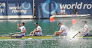 Bled, SLOVENIA.  Men's four final Gold Medalist GBR M4- Bow Matt LANGRIDGE, Rick EGINGTON, Tom JAMES and Alex GREGORY racing and celebrating. 2011 FISA World Rowing Championships, Lake Bled. Sunday  04/09/2011  [Mandatory Credit;  Intersport Images]